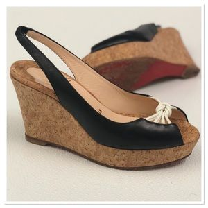 Christian Louboutin leather cork wedge sandals